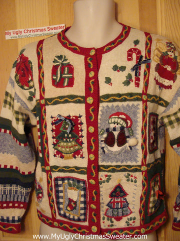 Tacky Ugly Christmas Sweater 2sided Pattern Festive Knit (f27)