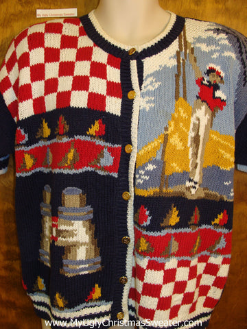 Checkerboard Mystery Design Ugly Festive Xmas Sweater