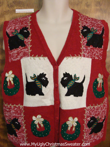 Terrier Dog Lovers Ugly Festive Xmas Sweater Vest