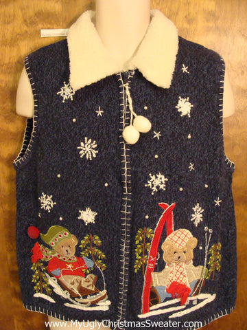 Skiing Bears Ugly Festive Xmas Sweater Vest