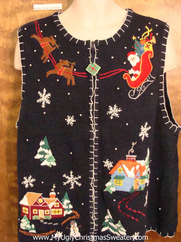 Santa and Reindeer Crafty Ugly Festive Xmas Sweater Vest