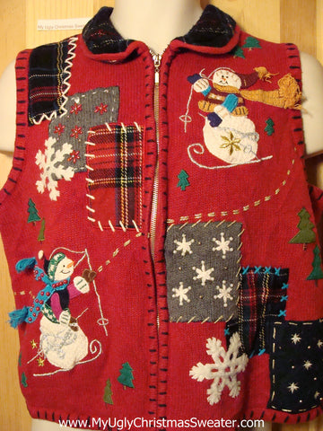 Tacky Ugly Christmas Sweater Vest with Crafty Plaid Accents and Skiing Snowmen (f280)