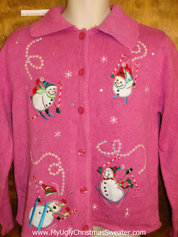 Skiing Snowmen Ugly Festive Xmas Pink Sweater