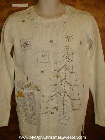 Cheap Ugly Festive Xmas Sweater with Tree and Fireplace Scene
