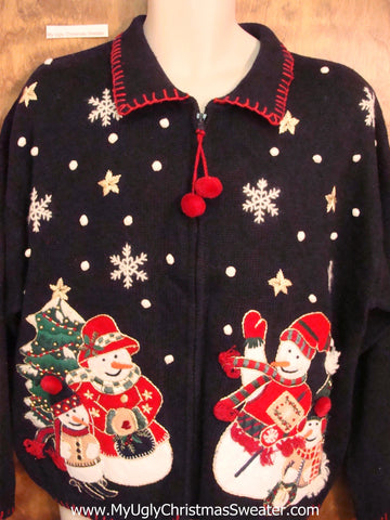 Awesome Snowmen Themed Ugly Festive Xmas Sweater