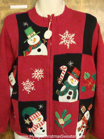 Cheap Ugly Festive Xmas Sweater with Happy Snowmen