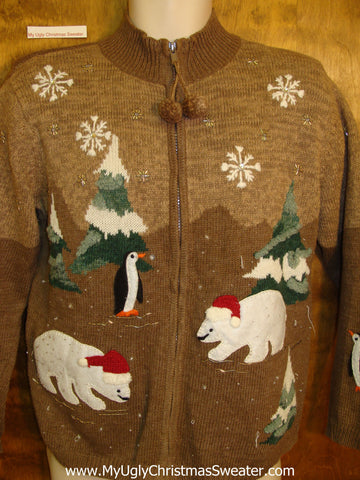 Ugly Festive Xmas Sweater Polar Bears and Penguins
