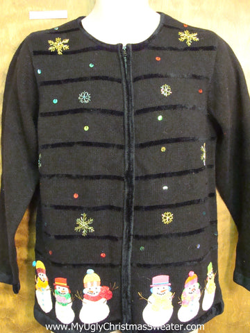 Snowmen Coming and Going Ugly Festive Xmas Sweater