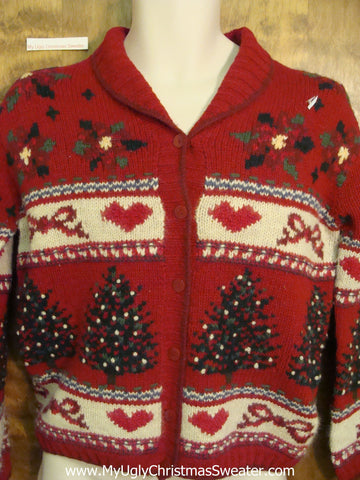 2sided Hearts, Bows, and Trees Ugly Xmas Sweater
