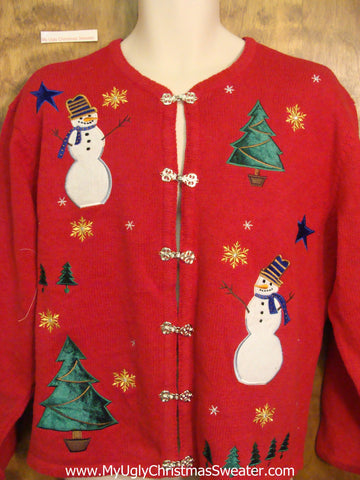 Twig Armed Snowman Ugly Festive Xmas Sweater
