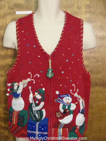 Snowman Band Ugly Festive Xmas Sweater Vest