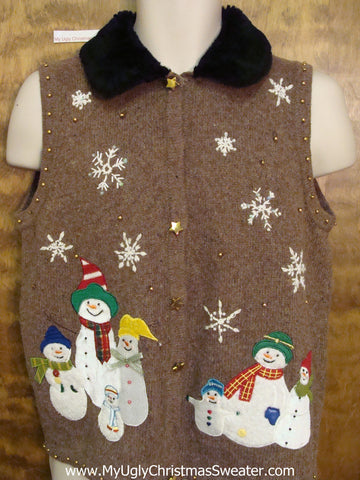 Ugly Brown Xmas Sweater Vest with Snowmen