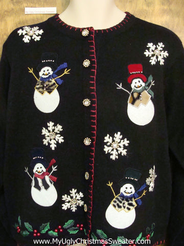 High Class Snowmen with Fur Coats Xmas Sweater
