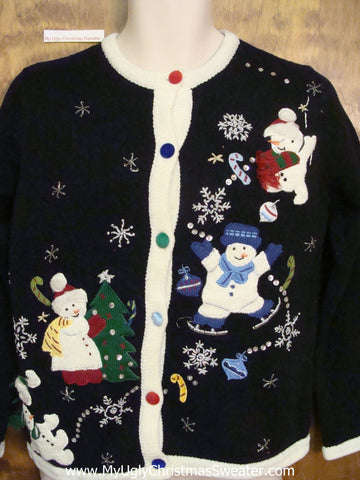Ice Skating Snowman Ugly Festive Xmas Sweater