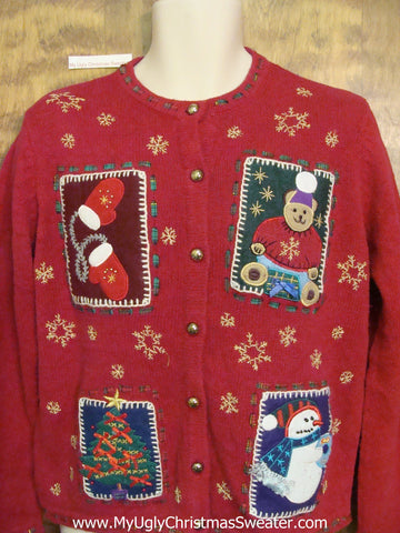 Patchwork Bear and Snowman Ugly Festive Xmas Sweater
