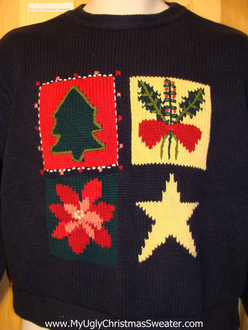 Tacky Ugly Christmas Sweater with Minimalize Simple Decorations (f285)