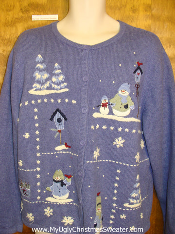 Ugly Blue 2sided Winter Theme Festive Xmas Sweater
