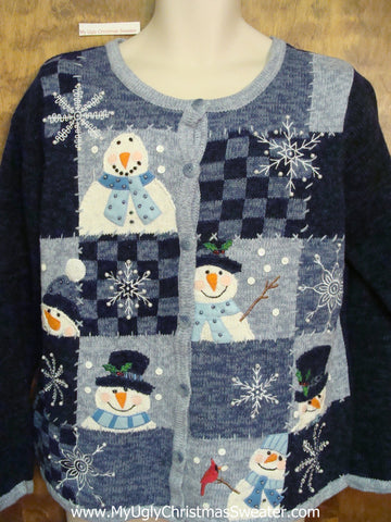 Ugly Blue Patchwork Snowman Festive Xmas Sweater