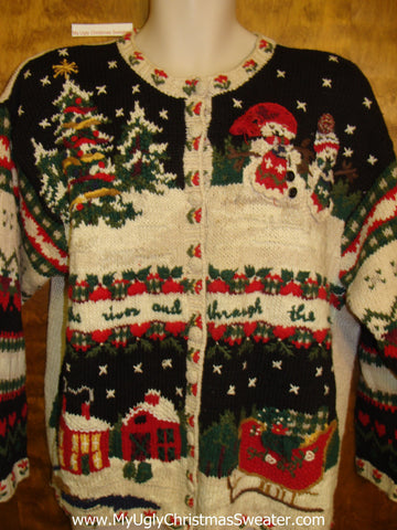 Ugly 80s Festive Xmas Sweater Padded Shoulders