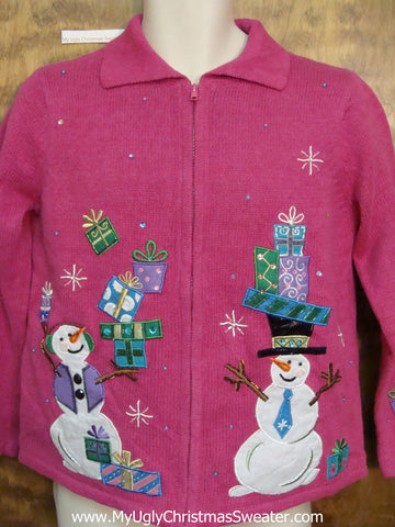 Pink Ugly Xmas Sweater with Trick Snowmen