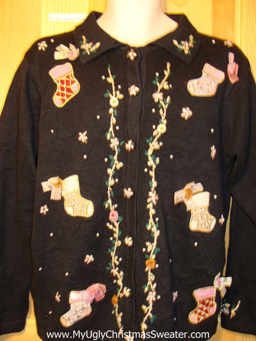 Tacky Ugly Christmas Sweater with Victorian Style Stockings with Bling Accents (f286)