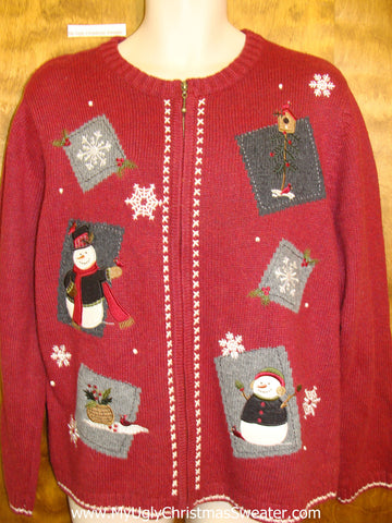 Patchwork Ugly Red Festive Xmas Sweater