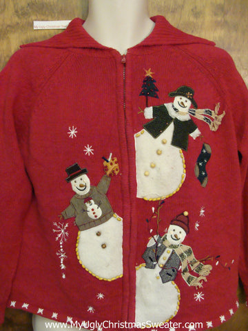 Ugly Red  Festive Xmas Sweater with Peaking Snowmen