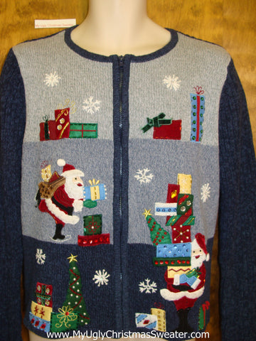 Santa and Colorful Gifts Ugly Festive Xmas Sweater