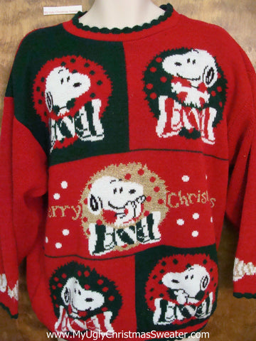 Snoopy Dog 80s Ugly Festive Xmas Sweater