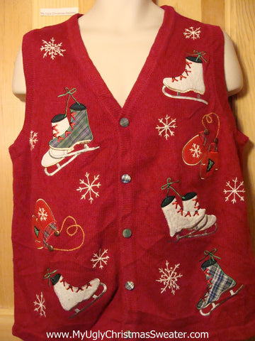 Tacky Ugly Christmas Sweater Vest with Skates and Mittens (f287)