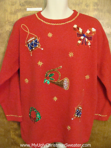 Seriously BLING Red Ugly Festive Xmas Sweater