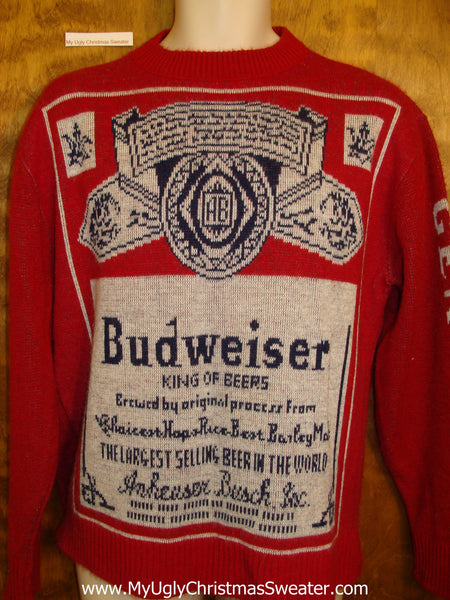 genuine vintage budweiser ugly christmas sweater