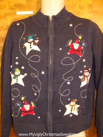 Star Shaped Santas Ugly Festive Xmas Sweater