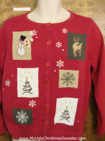 Red Patchwork Crafty Ugly Festive Xmas Sweater