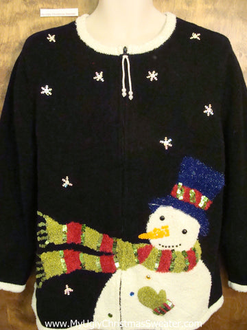 Windy Day Snowman Ugly Festive Xmas Sweater