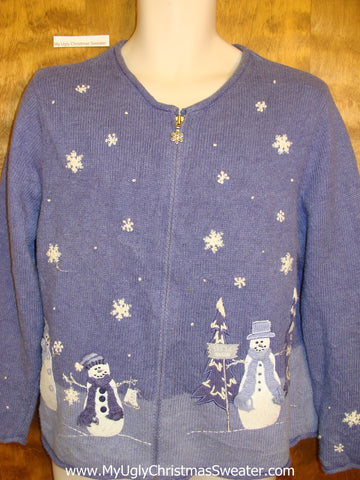 Blue 2sided Snowman Themed Ugly Xmas Sweater