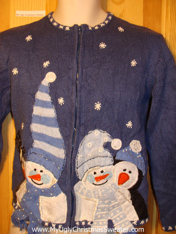 Tacky Ugly Christmas Sweater with Three Huge Carrot Nosed Snowmen with Hats (f289)