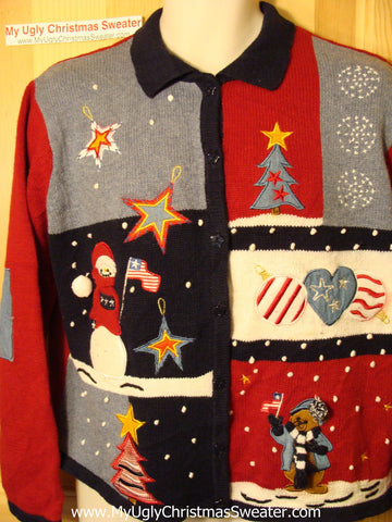 Tacky Ugly Christmas Sweater Festive Patriotic Snowman and Bear (f28)