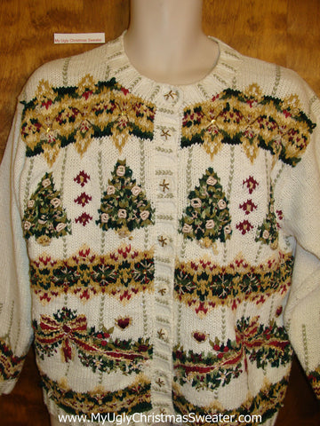 Ugliest Christmas Sweater Cardigan with Trees