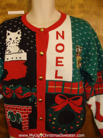 Crazy Cat Lady 80s Ugliest Christmas Sweater