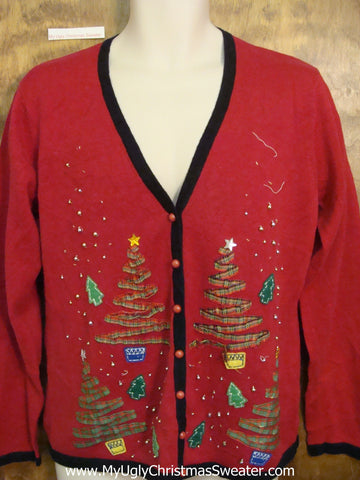 Ugliest Christmas Sweater Red Cardigan with Trees