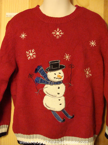 Child Size 5 Tacky Ugly Christmas Sweater with Skiing Snowman (f290)