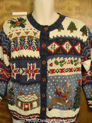 Ugliest Christmas Sweater Busy with Leaping Reindeer