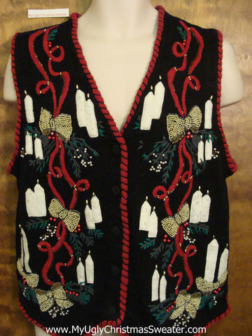 Ugliest Christmas Sweater Vest Bling Bows and Candles