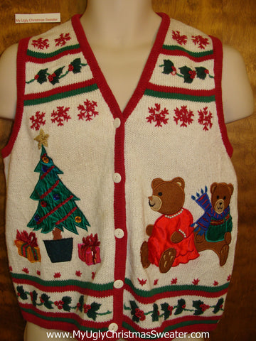 Ugliest Christmas Sweater Vest 80s Bear