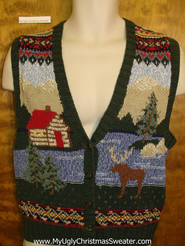 2sided Woodsy Ugliest Christmas Sweater Vest