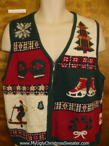 2sided Winter Sports Ugliest Christmas Sweater Vest