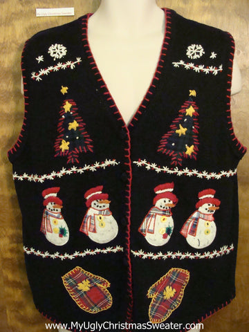 Crafty Snowmen and Mittens Ugliest Christmas Sweater Vest