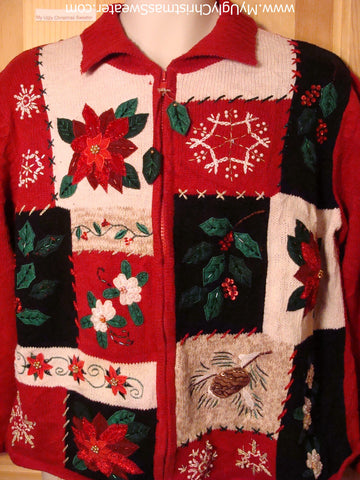 Tacky Ugly Christmas Sweater with Festive Poinsettias and Ivy (f292)