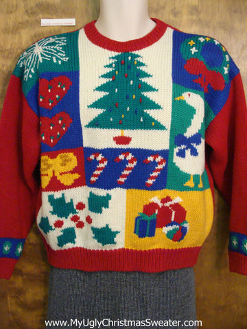Retro 80s Colorful Ugliest Christmas Sweater